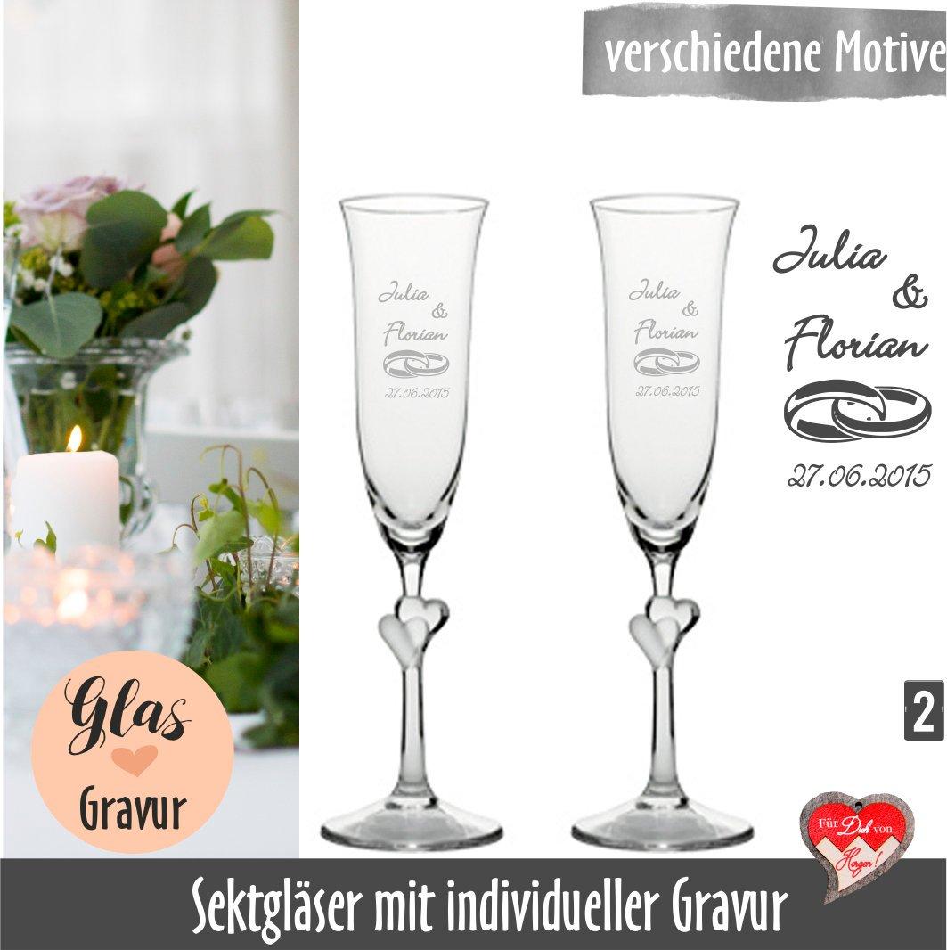 Sektgläser mit Gravur, Hochzeitsgeschenk, Sektgläser Herz, Sektgläser zur  Hochzeit, personalisierte Sektgläser, gravierte Sektgläser,